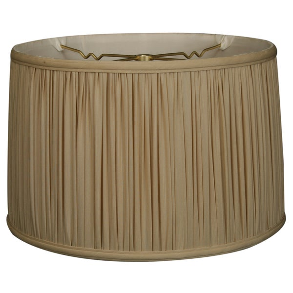 Royal Designs Shallow Drum Gather Pleat Basic Lamp Shade, Beige, 17 x 18 x 11.5