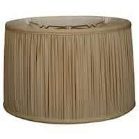 Royal Designs Shallow Drum Gather Pleat Basic Lamp Shade, Beige, 15 x 16 x 10