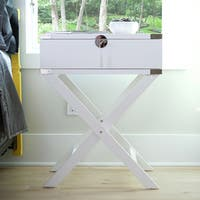 Hives and Honey Haven Home Hunter Campaign White Wood Nightstand Table