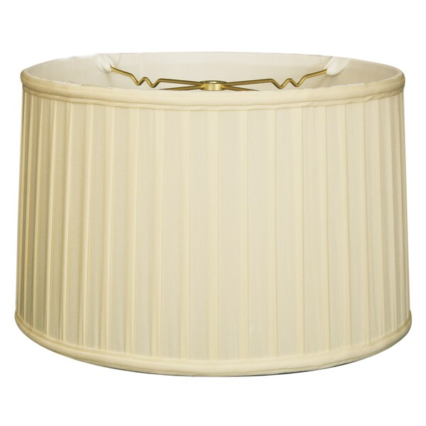 Royal Designs Shallow Drum Side Pleat Basic Lamp Shade, Eggshell, 17 x 18 x 11.5