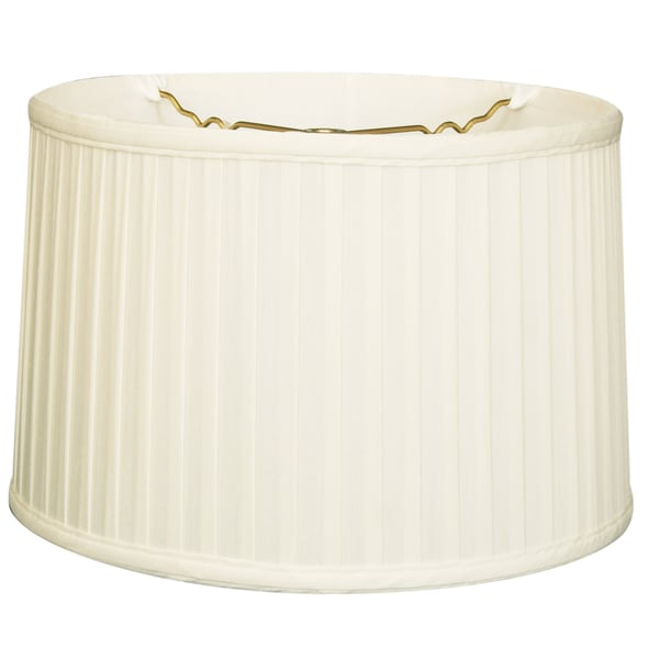 Royal Designs Shallow Drum Side Pleat Basic Lamp Shade, White, 15 x 16 x 10