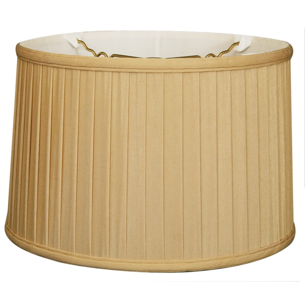 Royal Designs Shallow Drum Side Pleat Basic Lamp Shade, Antique Gold, 15 x 16 x 10