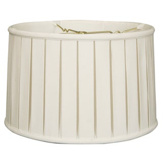 Royal Designs Basic Linen White English Box Pleat Shallow Drum Lamp Shade