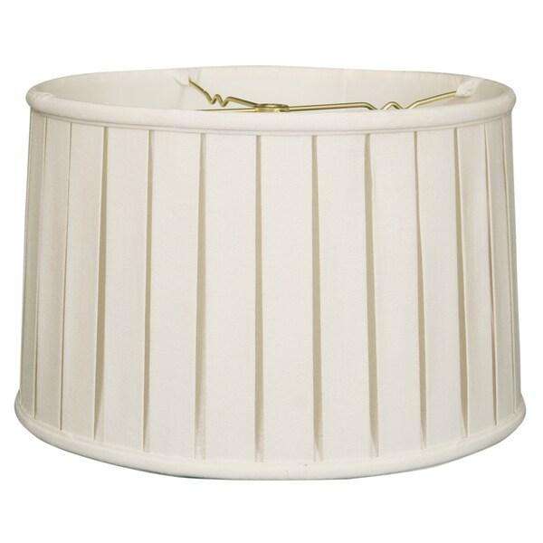 Royal Designs Basic Linen White English Box Pleat Shallow Drum Lamp Shade