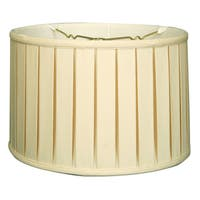 Royal Designs Shallow Drum English Box Pleat Basic Lamp Shade, Eggshell, 17 x 18 x 11.5, 6-way
