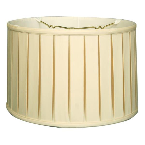 Royal Designs Shallow Drum English Box Pleat Basic Lamp Shade, Eggshell, 17 x 18 x 11.5, 6-way