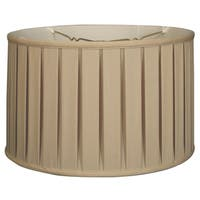 Royal Designs Shallow Drum English Box Pleat Basic Lamp Shade, Beige, 17 x 18 x 11.5, 6-way