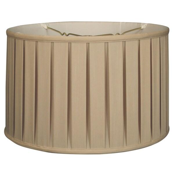 Royal Designs Shallow Drum English Box Pleat Basic Lamp Shade, Beige, 17 x 18 x 11.5, 6-way
