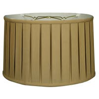 Royal Designs Shallow Drum English Box Pleat Basic Lamp Shade, Antique Gold, 17 x 18 x 11.5, 6-way
