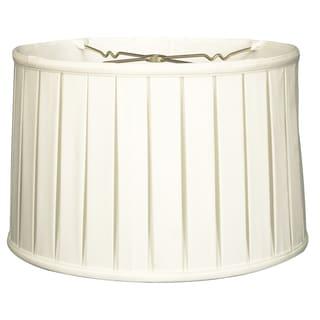 Royal Designs Shallow Drum English Box Pleat Basic Lamp Shade, White, 15 x 16 x 10