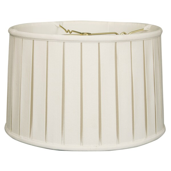 Royal Designs Shallow Drum English Box Pleat Basic Lamp Shade, Linen White, 15 x 16 x 10