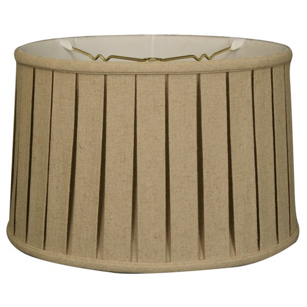Royal Designs Shallow Drum English Box Pleat Basic Lamp Shade, Linen Cream, 15 x 16 x 10