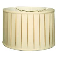 Royal Designs Shallow Drum English Box Pleat Basic Lamp Shade, Eggshell, 15 x 16 x 10