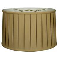 Royal Designs Shallow Drum English Box Pleat Basic Lamp Shade, Antique Gold, 15 x 16 x 10