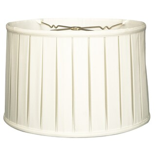 Royal Designs Shallow Drum English Box Pleat Basic Lamp Shade, White, 13 x 14 x 9