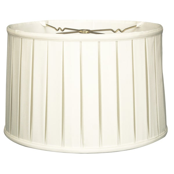 Royal Designs Shallow Drum English Box Pleat Basic Lamp Shade, White, 13 x 14 x 9