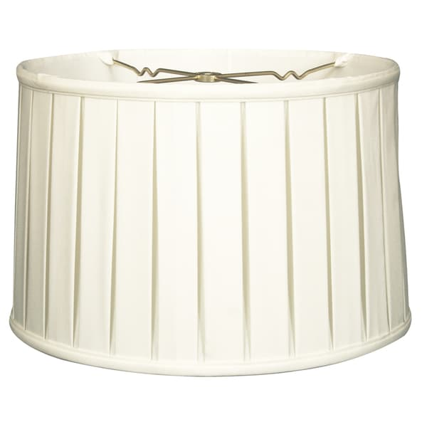 Royal Designs Shallow Drum English Box Pleat Basic Lamp Shade, White, 9 x 10 x 7