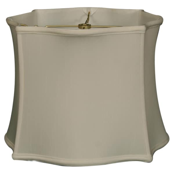 Royal Designs Scallop Top & Bottom Square Basic Lamp Shade, White, 14 x 15 x 11