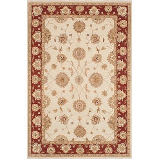 Ecarpetgallery Chobi Cream/Red/Brown Wool and Cotton Hand-knotted Rug (6'6 x 9'10)