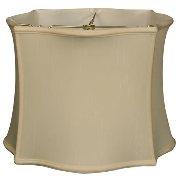Royal Designs Scallop Top & Bottom Square Basic Lamp Shade, Eggshell, 14 x 15 x 11