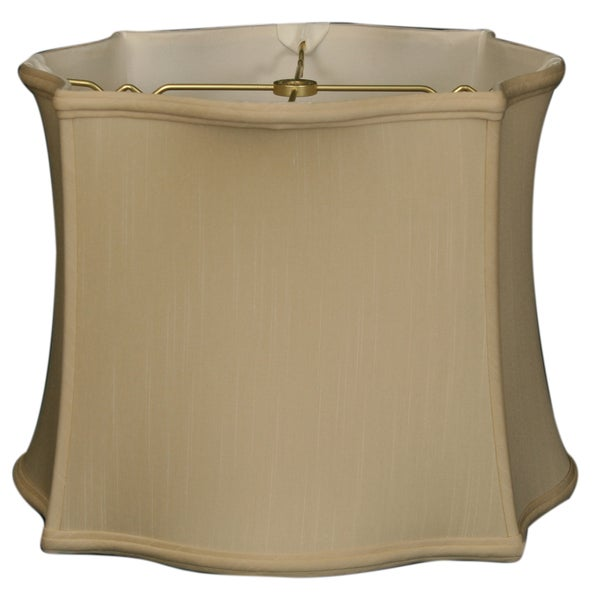 Royal Designs Scallop Top & Bottom Square Basic Lamp Shade, Beige, 13 x 14 x 10.5