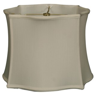 Royal Designs Scallop Top & Bottom Square Basic Lamp Shade, White, 12 x 13 x 10