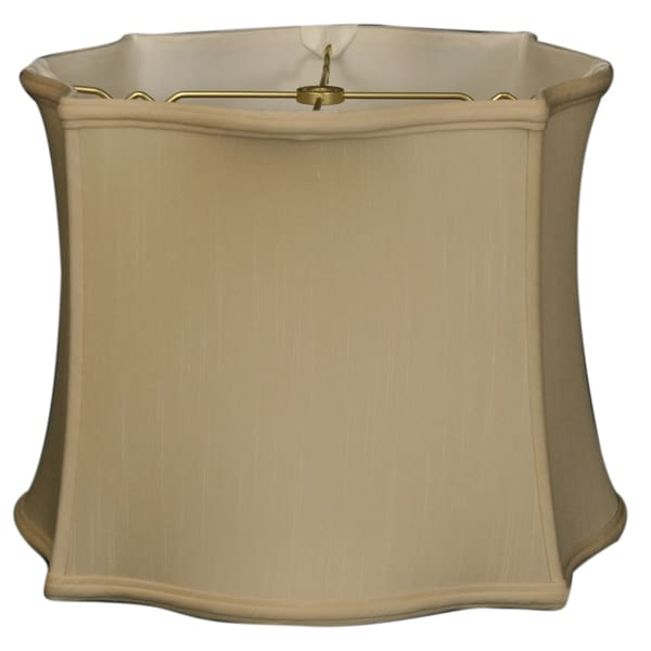 Royal Designs Scallop Top & Bottom Square Basic Lamp Shade, Beige, 12 x 13 x 10
