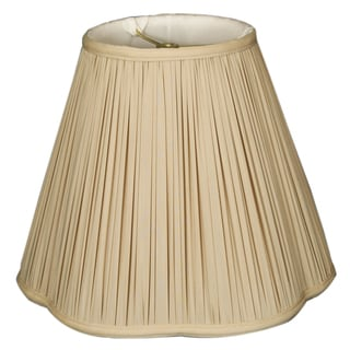 Royal Designs Bottom Scallop Gather Pleat Basic Lamp Shade, Beige, 10 x 20 x 15.5