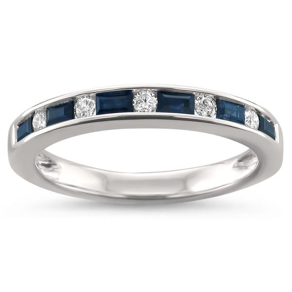 Montebello Jewelry 14k White Gold 1/2ct TGW Blue Sapphire and White Diamond Wedding Band