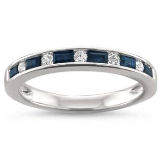 Montebello Jewelry 14k White Gold 1/2ct TGW Blue Sapphire and White Diamond Wedding Band|https://ak1.ostkcdn.com/images/products/14800359/P21319692.jpg?impolicy=medium