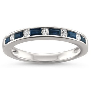 Montebello Jewelry 14k White Gold 1/2ct TGW Blue Sapphire and White Diamond Wedding Band (2 options available)