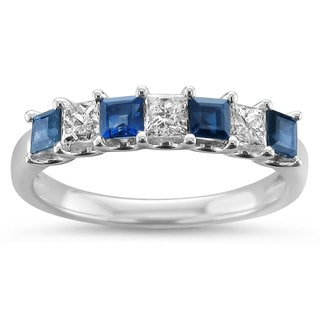 Montebello Jewelry 14k White Gold 1 1/10ct TGW Blue Sapphire and Diamond Wedding Band