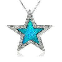 Sterling Silver Created Opal Cubic Zirconia Star Pendant Necklace