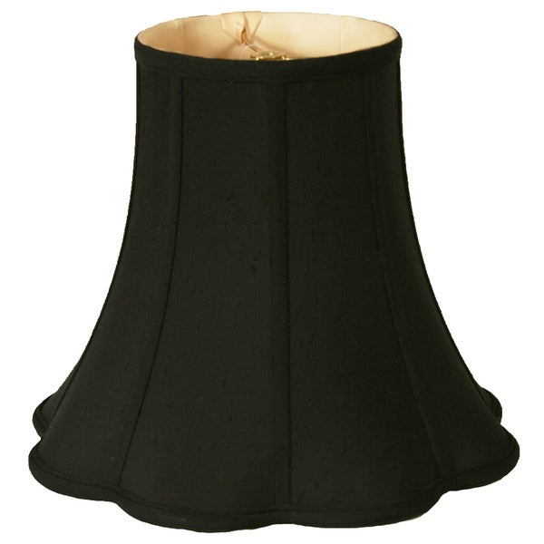 Royal Designs Bottom Outside Scallop Bell Lamp Shade, Black, 7 x 14 x 11.5