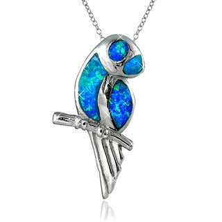Sterling Silver Created Opal Parrot Pendant Necklace
