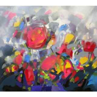 'Floral III' by Scott Naismith Gel Brush Finished Gallery-Wrapped Canvas Wall Art, Ready to Hang