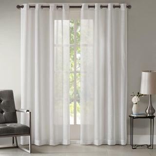 Madison Park Teagan Lightweight Sheer Metallic Solid Window Curtain Panel