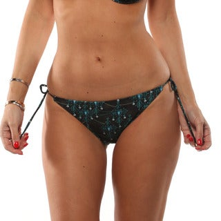 Lisa Blue Gothic Rock Side Tie Bikini Bottom