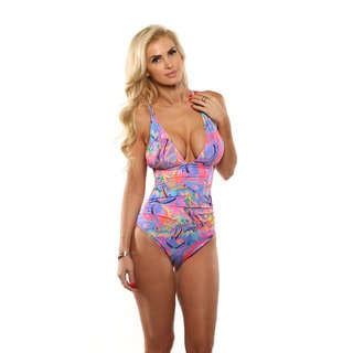 Lisa Blue Neon Streets Side Cut-Away One-Piece Swimsuit