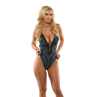 Lisa Blue Gothic Rock Plunging One-Piece Swimsuit