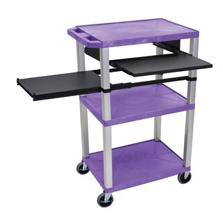 Offex Purple Plastic Three Shelf A/V Rolling Cart