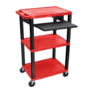 Offex OF-WTPS42RE-B Tuffy Red/Black Legs 42-inch 3-shelf Cart with Pullout Shelf