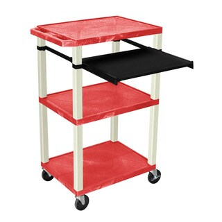 Offex OF-WTPS42RE-N Red Plastic 42-inch 3-shelf A/V Cart with Pullout Shelf and Nickel Legs