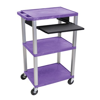 Offex Tuffy Purple Plastic 42-inch 3-shelf Cart with Black Pullout Shelf and Nickel Legs