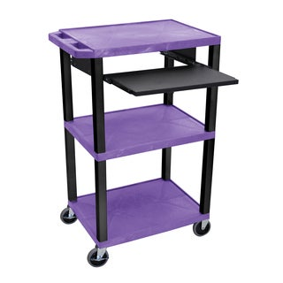 Offex Tuffy Purple Plastic 42-inch 3-shelf Cart with Black Pullout Shelf and Black Legs