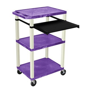Offex Purple and Putty Plastic Presentation Cart with Open Shelves and Pullout Tray