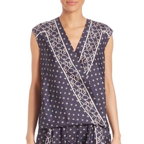 3.1 Phillip Lim Navy Silk Drape Top
