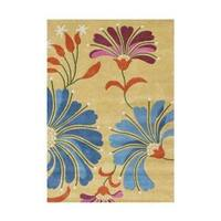 Alliyah Handmade New Zealand Blend Wool Transitional Yellow Floral Rug ( 5' x 8' )