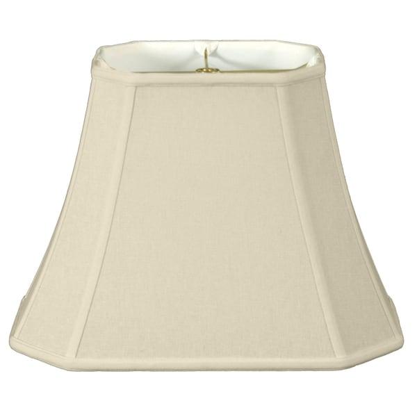 Royal Designs Rectangle Cut Corner Lamp Shade, Linen Eggshell, 6 x 8 x 9 x 14 x 10.5