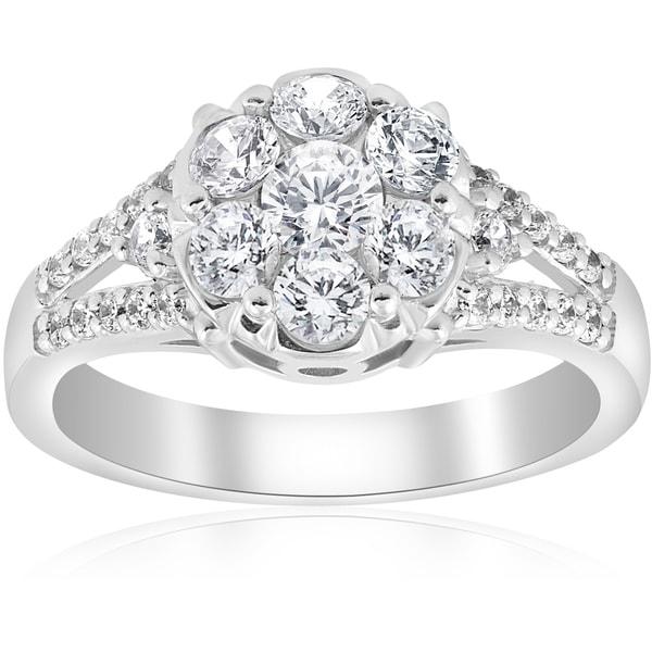 Shop 10K White Gold 1 Ct TDW Diamond Engagement Ring